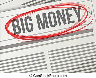 big money on a newspaper