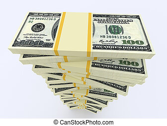 Big money stack from dollars usa. Finance concepts -...