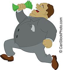 Big money - Vector image of big fan man with money