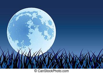 Big moon - Big full beautiful moon in night time