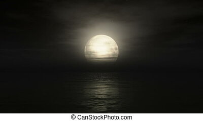 Big moon in ocean