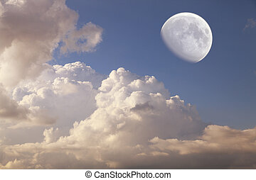 big moon in the daytime sky