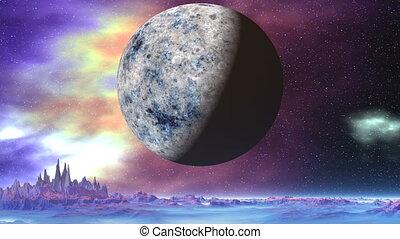 Big Moon over Alien Planet