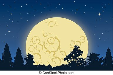 Big yellow moon rising above dark forest in starry night
