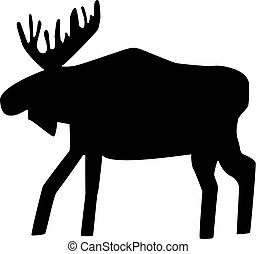 Big moose silhouette on the white background.