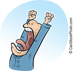 A cartoon man has a big yawn in the morning as he wakes up.
