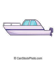 Big motor boat icon, cartoon style