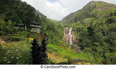 Big mountain waterfall. Sri Lanka - Video FullHD - Big...