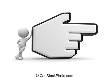 3d people - man, person pointing with big mouse cursor