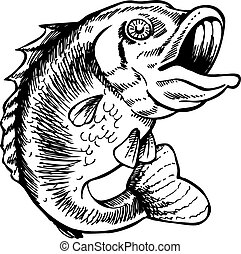 big mouth bass art vector illustration image scalable to any size.