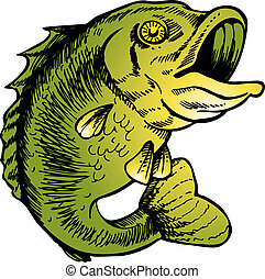 big mouth bass vector illustration image scalable to any...