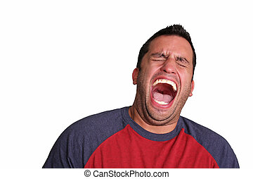 A humorous spin on a portrait of a man appearing to be laughing about something.