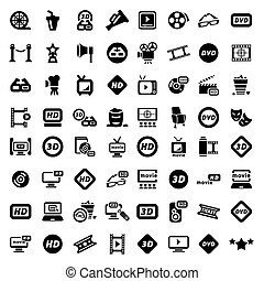 big movie icon set - Big Elegant Movie Icons Set Created For...