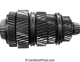 big new automobile gear on isolated background
