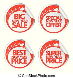 Big New Year sale stickers with santa ,deer and sleigh
