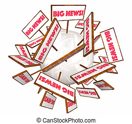 Big News Information Announcement Signs Words 3d Illustration