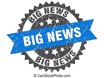 big news stamp. grunge round sign with ribbon