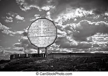 Big Nickel landmark at northern Ontario Canada