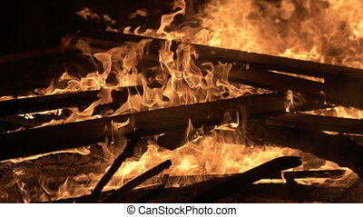 Big night fire, burning boards - Fire, burn out the house, ...