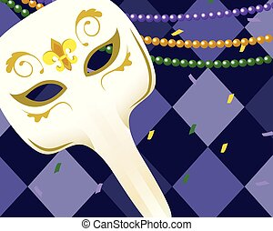 big nose mask with beads and harlequin pattern background vector illustration graphic design