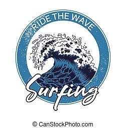 Big ocean sea blue tsunami wave