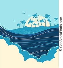 Big ocean waves and tropical island with palms.Vector blue illustration