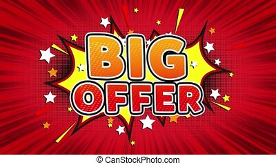 Big Offer Text Pop Art Style Comic Expression.