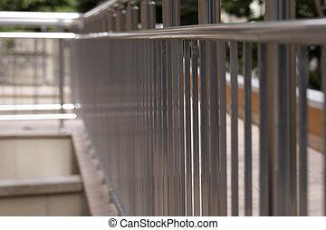 Big office building metal railing
