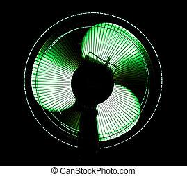 big office fan in green light