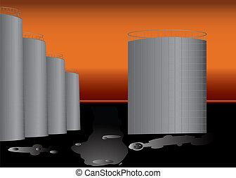 Big Oil base with plenty of oil in barrels.
