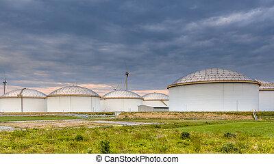 big oil tank terminal - Panorama of a huge strategic fuel...