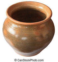 Big old clay pot isolated on a white background