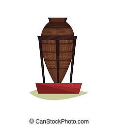 Big old pottery vase with Egyptian symbols on stand. Ancient ceramic amphora. Exhibit of historical museum. Flat vector design
