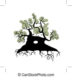 Big old tree with roots for your design