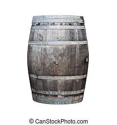 Big old wine barrel isolated on white background