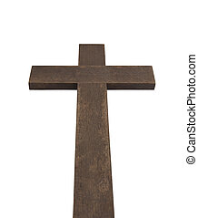 Big old wooden cross isolated on white background with clipping path