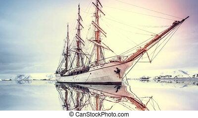 Big old wooden sailing boat explore Antarctica - Big old...