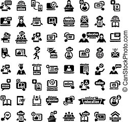 big online education icons set