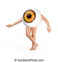 Big orange eye with legs and arms standing