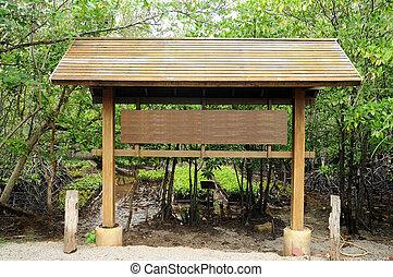 Big outdoor wooden billboard in public nature mangrove trail.