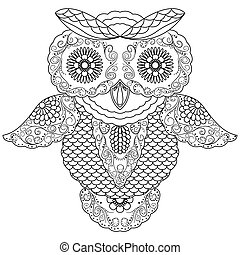 Big owl abstract outline