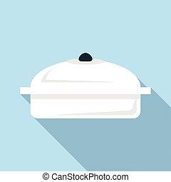 Big pan icon, flat style