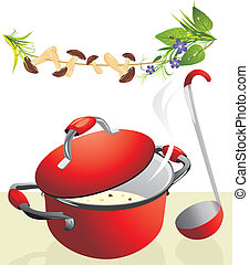 Big pan with mushroom soup and scoop. Vector illustration