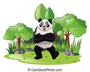 Big panda in the forest