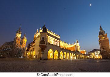 Big panorama of Rynek Main Market Square by Night, Krakow, Poland