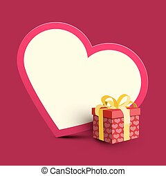 Big Paper Heart and Pink Gift Box with Gold Ribbon. Vector Illustration. 3D Present Box with Hearts.