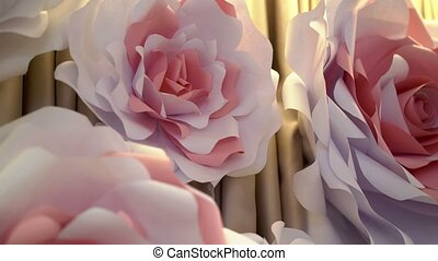 Big paper roses flowers - Big paper pink roses flowers