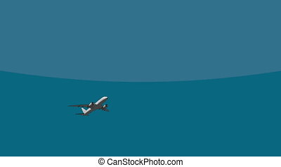 Big passenger airliner flying across the sky 4K 3D cartoon...