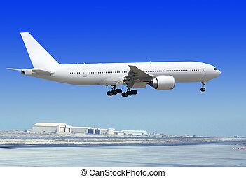 airplane is landing to runway