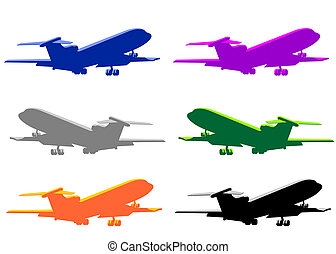 Big passenger airplane - Set of six airplanes illustrations ...